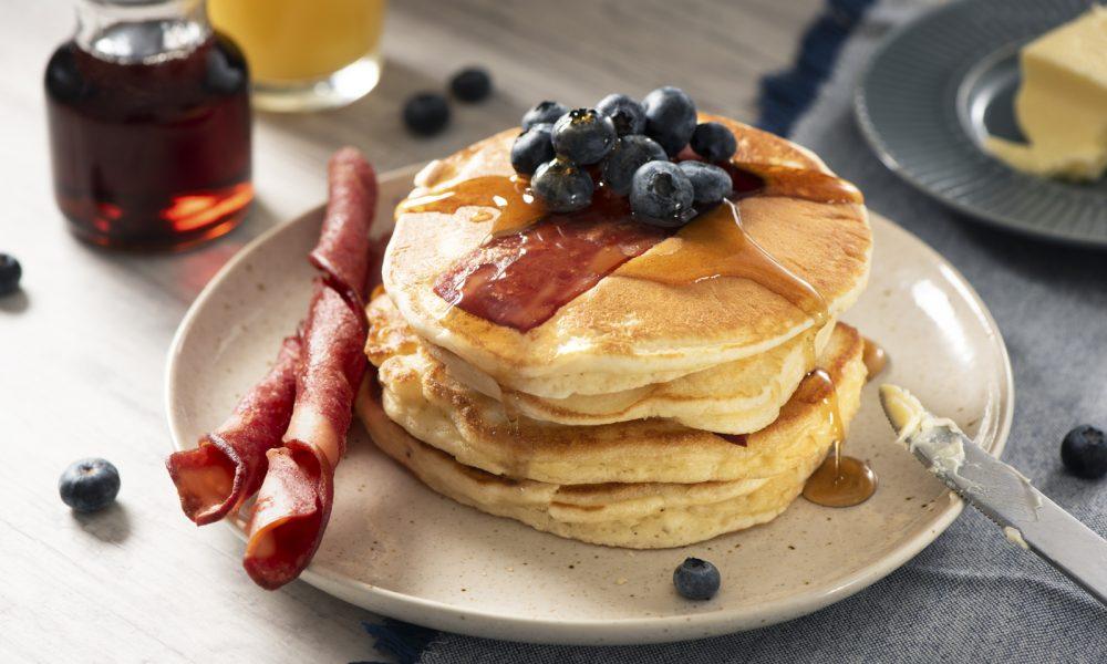 Blueberry & Chicken Bacon Pancakes