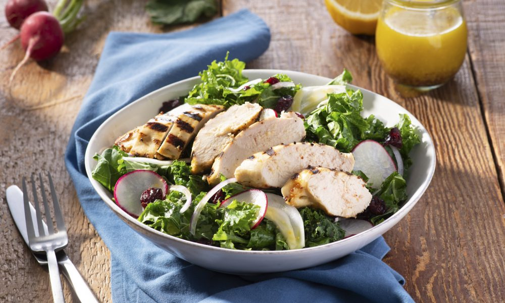 Lemony Grilled Chicken & Kale Salad