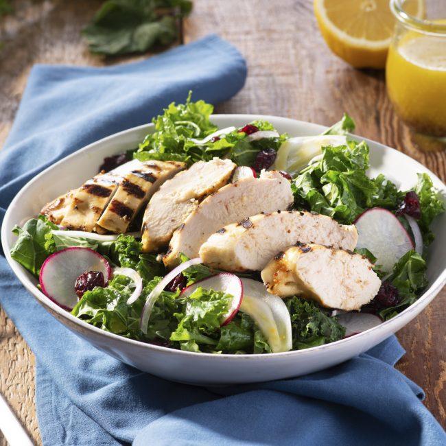Lemony Grilled Chicken & Kale Salad