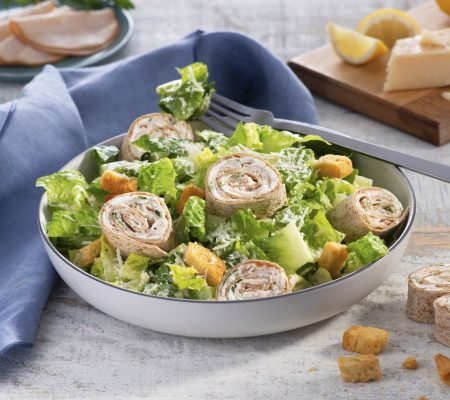 Pinwheel Wraps Over Caesar Salad