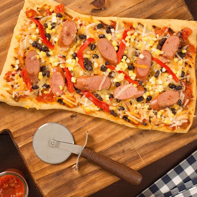 Grilled Tex-Mex Chicken Smokies Pizza