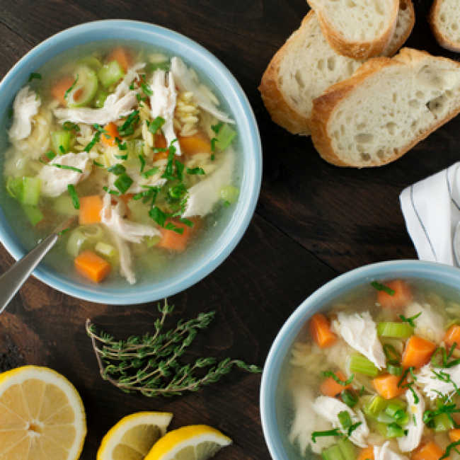 Slow-Cooker Chicken Soup with Lemon & Orzo