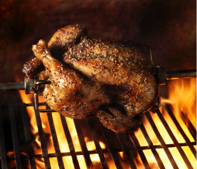 A barbecued chicken