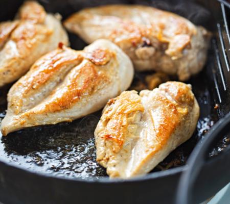 Pan frying chicken