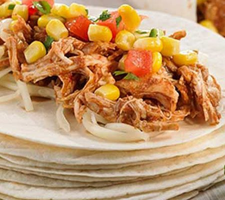 Pulled Chicken Taco with Corn Salad