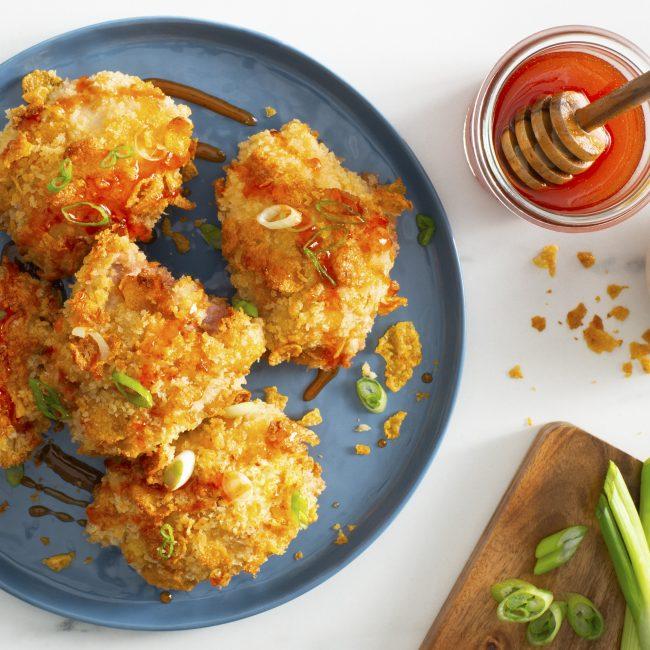 Baked Cornflake Chicken With Sriracha Honey Maple Lodge