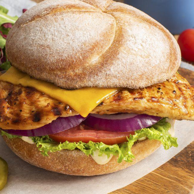 Chicken Cheeseburger and Salad