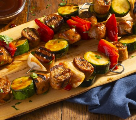 Packaging Photo of Grilled Sausage and Vegetable Kabobs
